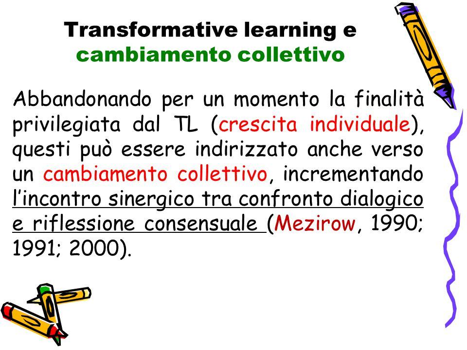 Transformative learning e cambiamento collettivo