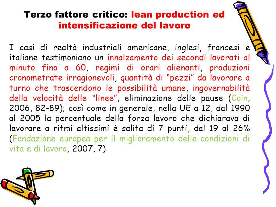 Terzo fattore critico: lean production ed intensificazione del lavoro