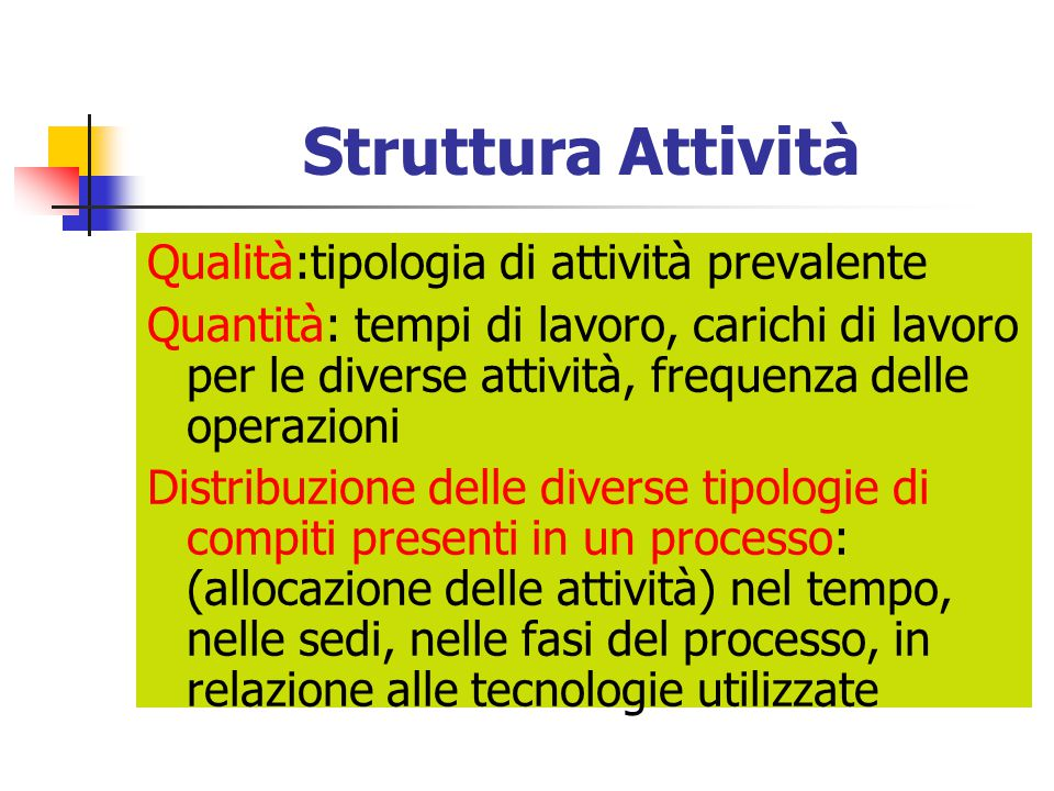 Struttura Attività Qualità:tipologia di attività prevalente