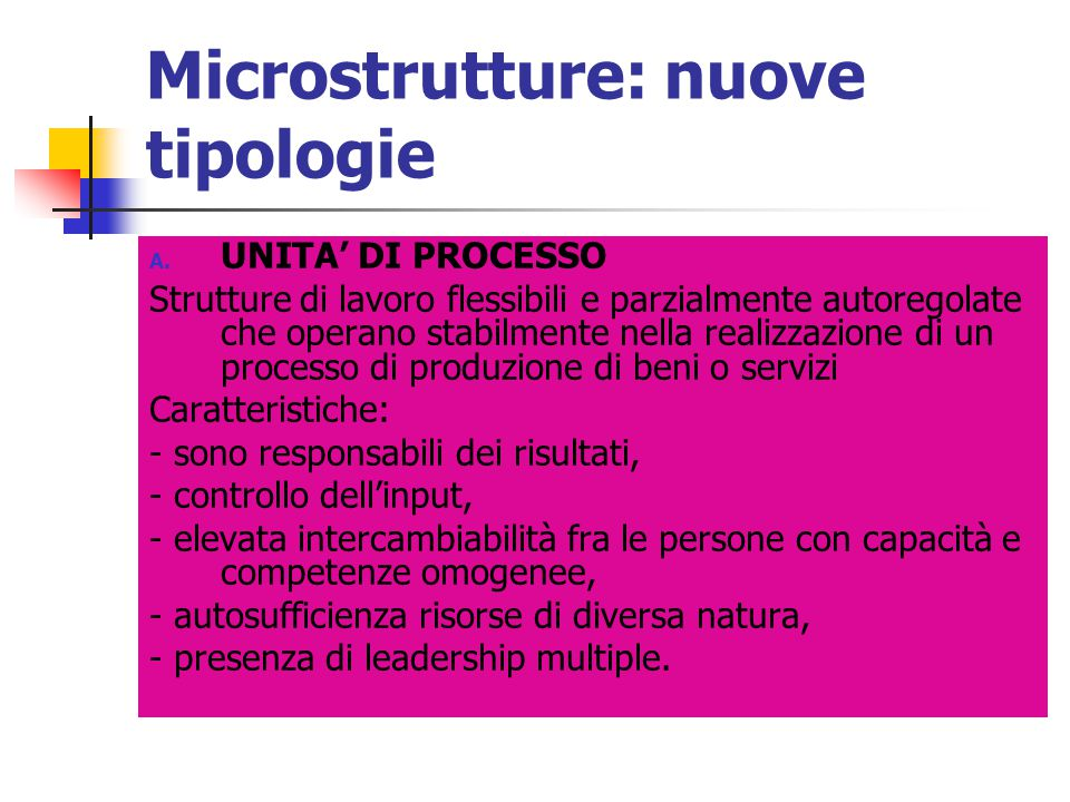 Microstrutture: nuove tipologie
