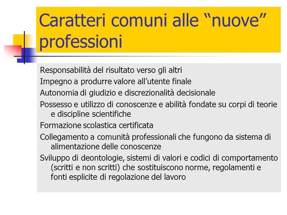 Caratteri comuni alle nuove professioni