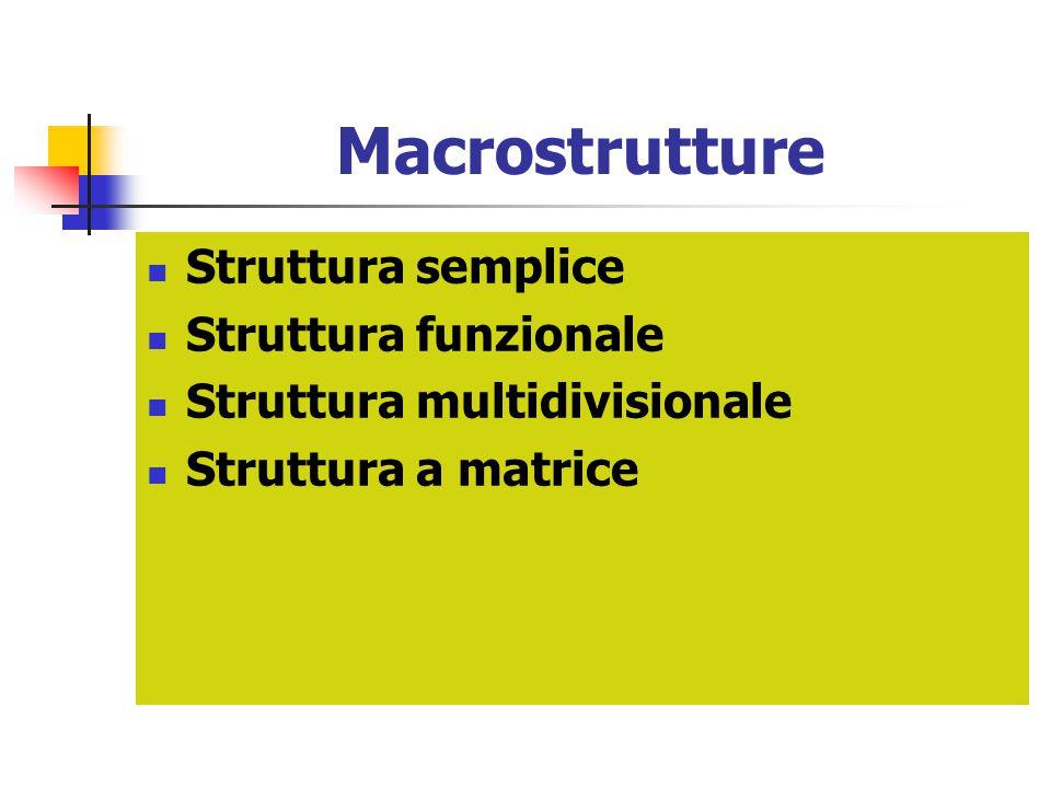 Macrostrutture Struttura semplice Struttura funzionale