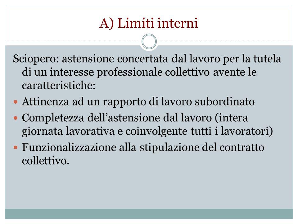 A) Limiti interni Sciopero: astensione concertata dal lavoro per la tutela di un interesse professionale collettivo avente le caratteristiche: