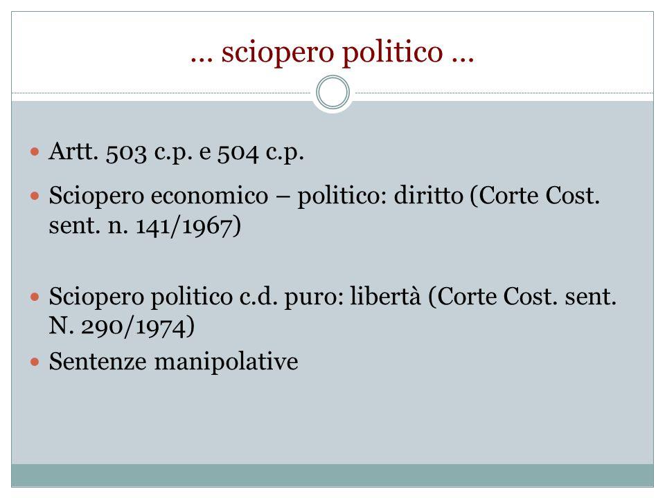 … sciopero politico … Artt. 503 c.p. e 504 c.p.