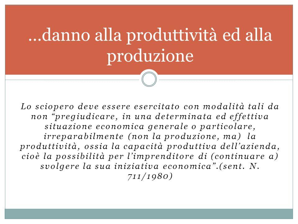 …danno alla produttività ed alla produzione
