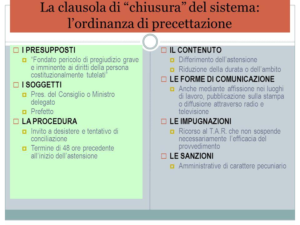 La clausola di chiusura del sistema: l'ordinanza di precettazione