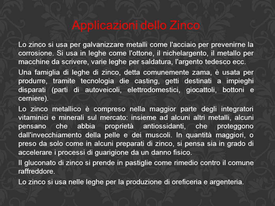 Applicazioni dello Zinco