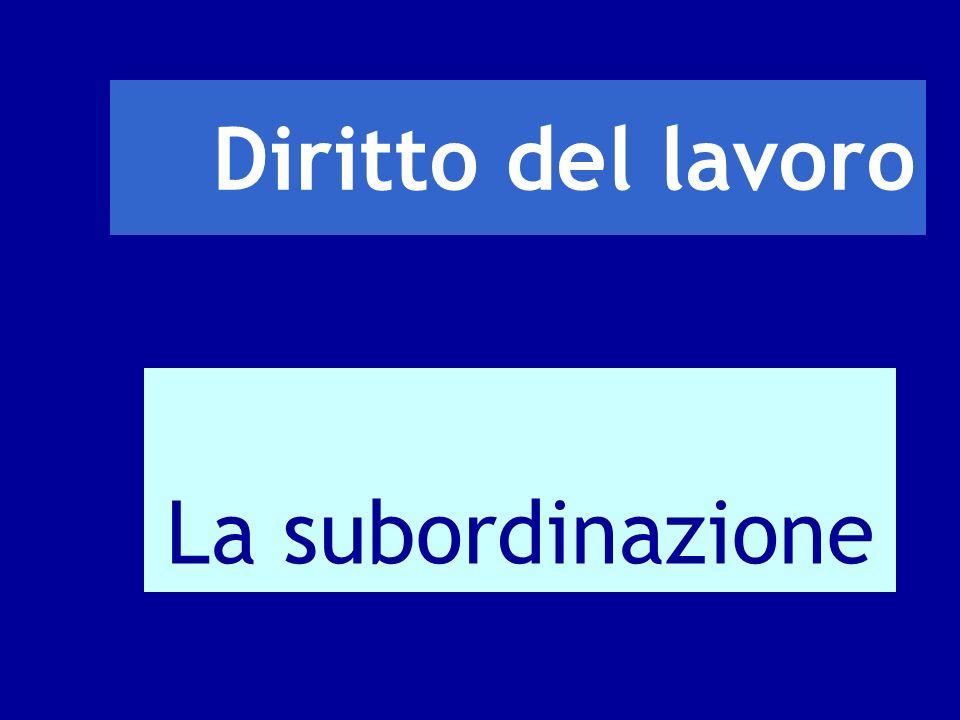 Diritto del lavoro La subordinazione