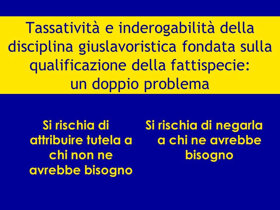 Tassatività e inderogabilità della disciplina giuslavoristica fondata sulla qualificazione della fattispecie: un doppio problema