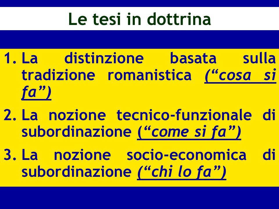 Le tesi in dottrinaLa distinzione basata sulla tradizione romanistica ( cosa si fa ) La nozione tecnico-funzionale di subordinazione ( come si fa )