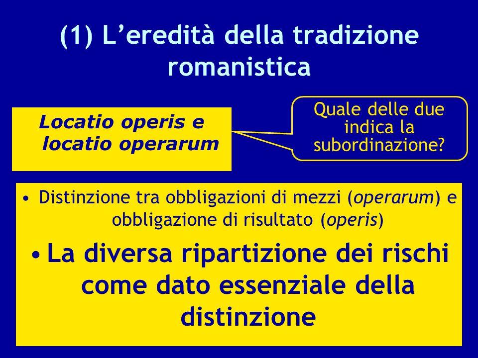 (1) L'eredità della tradizione romanistica
