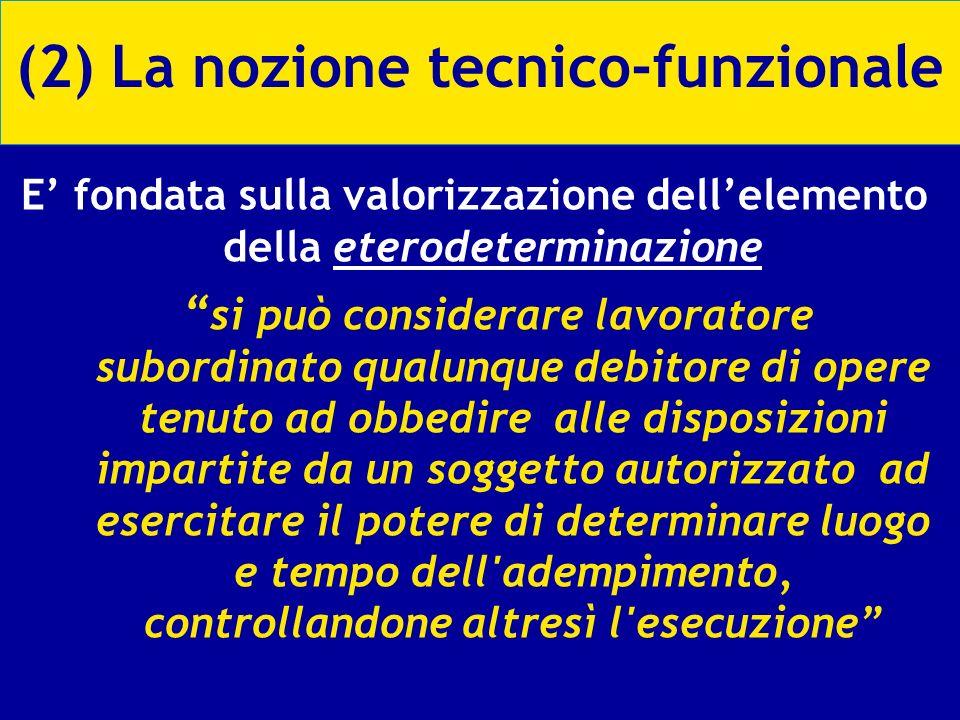 (2) La nozione tecnico-funzionale