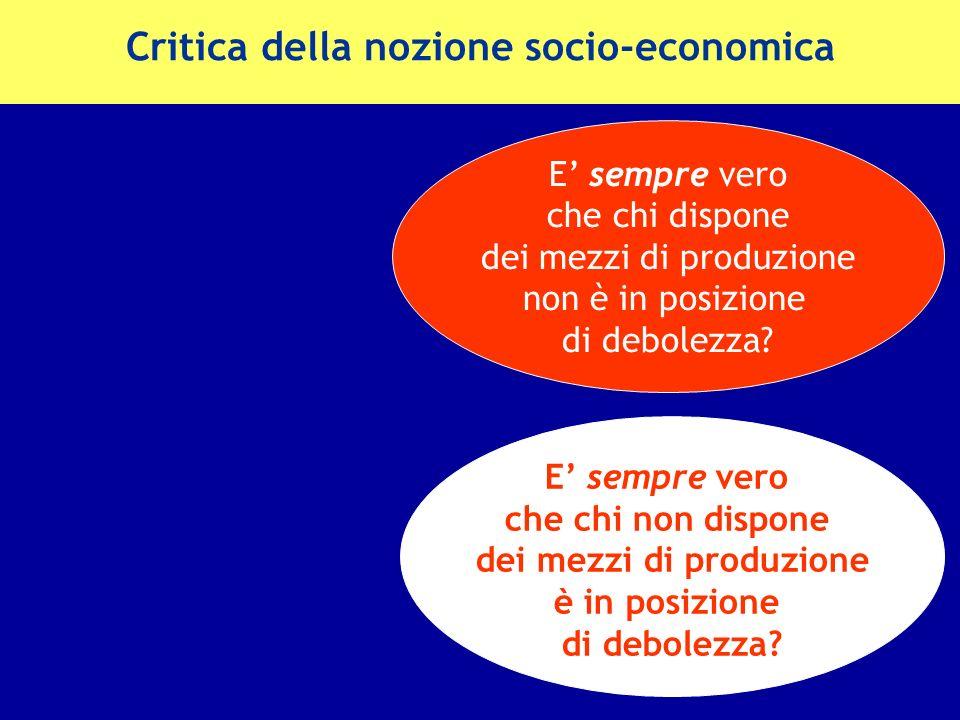 Critica della nozione socio-economica
