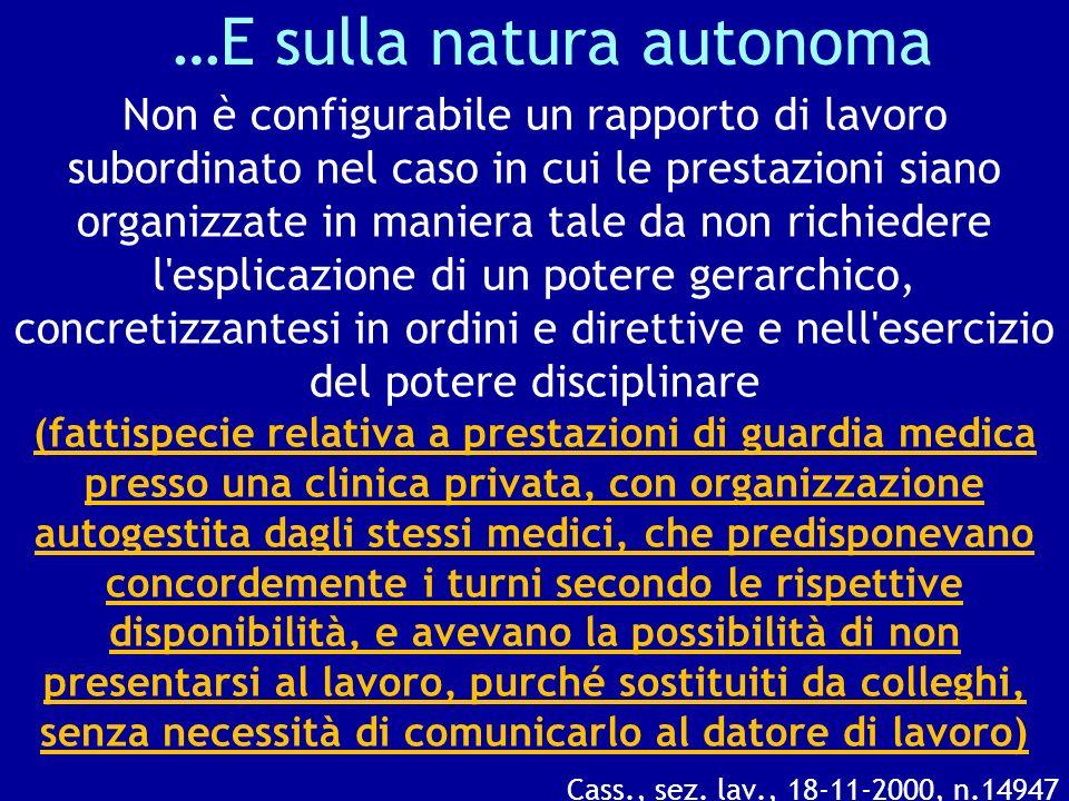 …E sulla natura autonoma