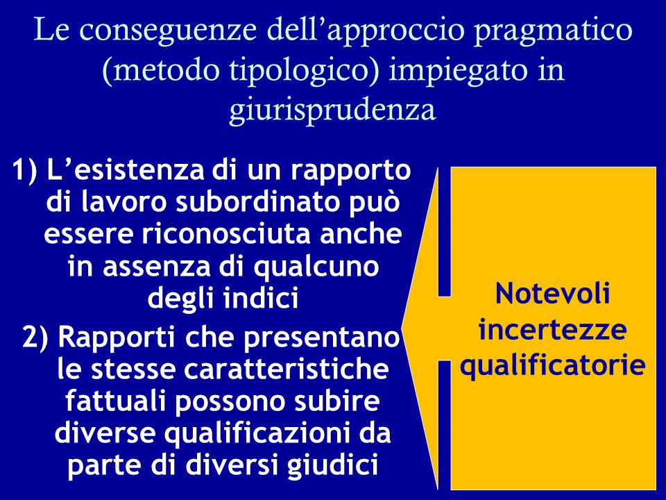 Le conseguenze dell'approccio pragmatico (metodo tipologico) impiegato in giurisprudenza
