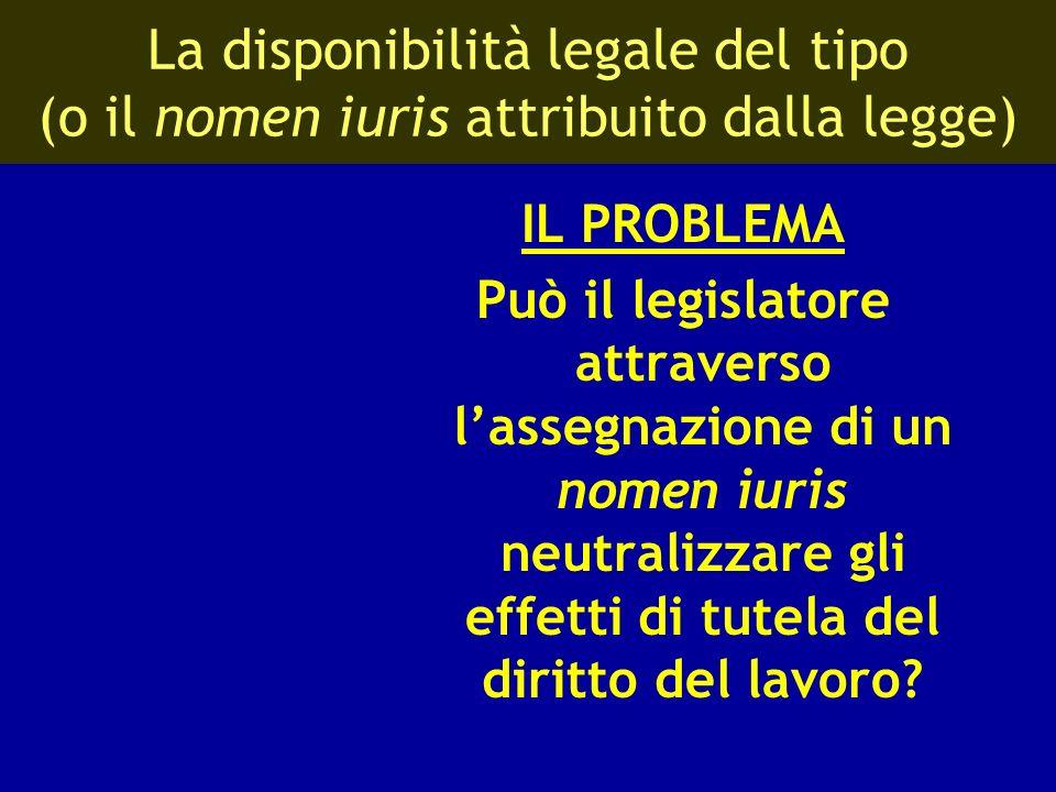 La disponibilità legale del tipo (o il nomen iuris attribuito dalla legge)