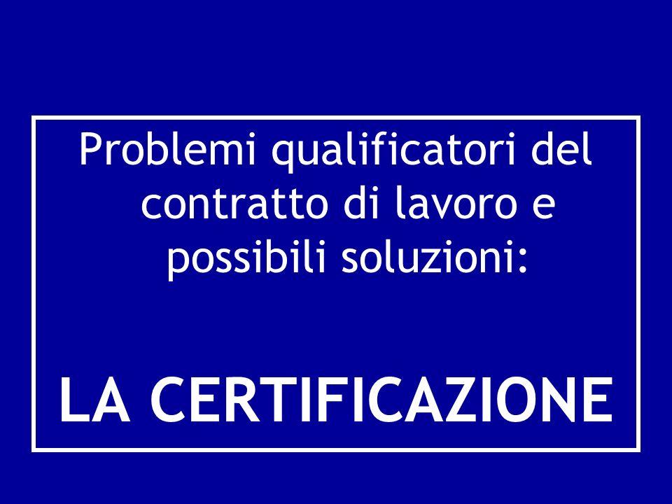 Problemi qualificatori del contratto di lavoro e possibili soluzioni: