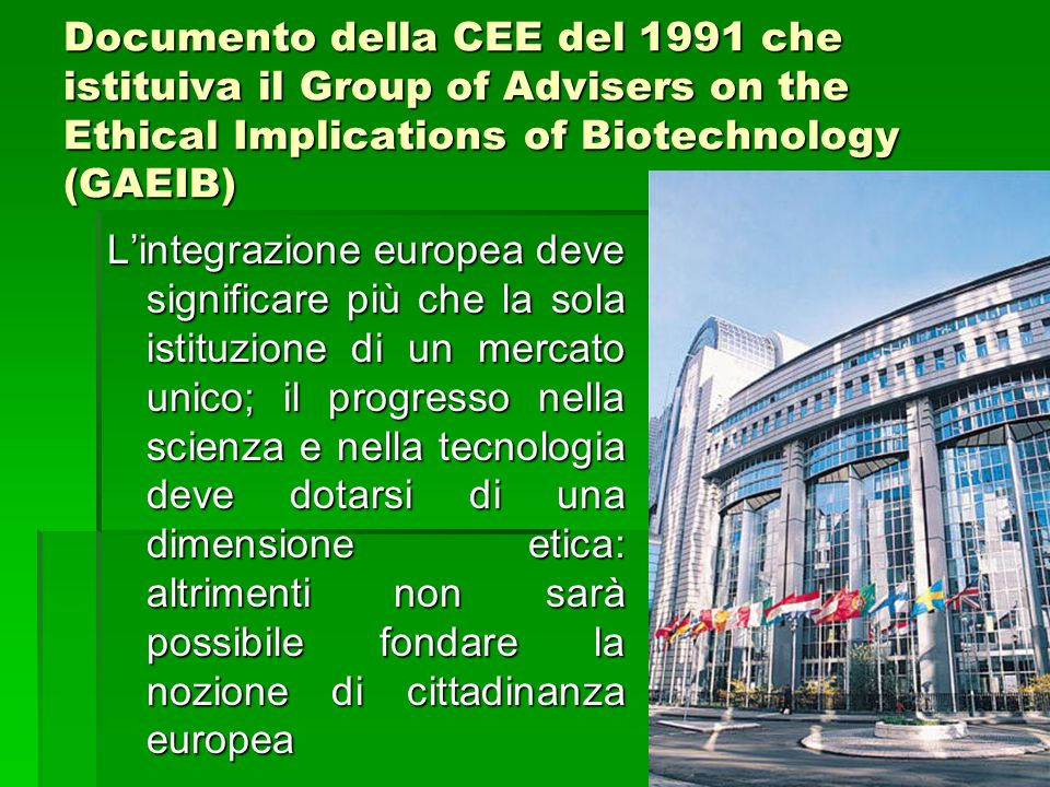 Documento della CEE del 1991 che istituiva il Group of Advisers on the Ethical Implications of Biotechnology (GAEIB)