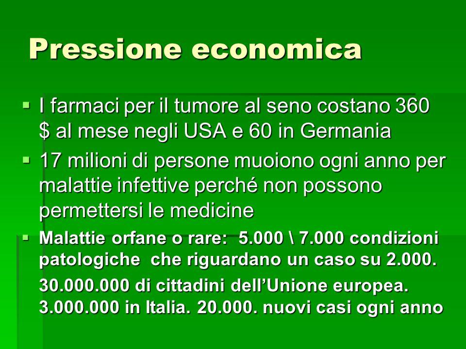 Pressione economica I farmaci per il tumore al seno costano 360 $ al mese negli USA e 60 in Germania.