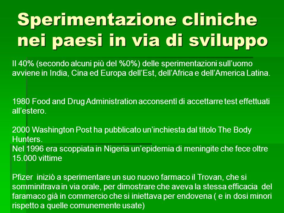 Sperimentazione cliniche nei paesi in via di sviluppo