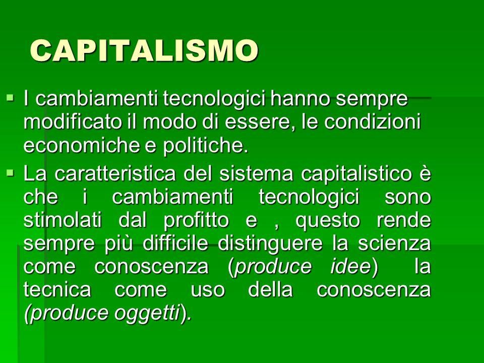 CAPITALISMO I cambiamenti tecnologici hanno sempre modificato il modo di essere, le condizioni economiche e politiche.