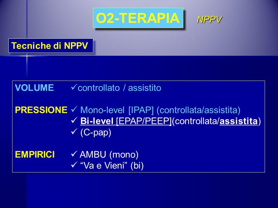O2-TERAPIA NPPV Tecniche di NPPV VOLUME controllato / assistito