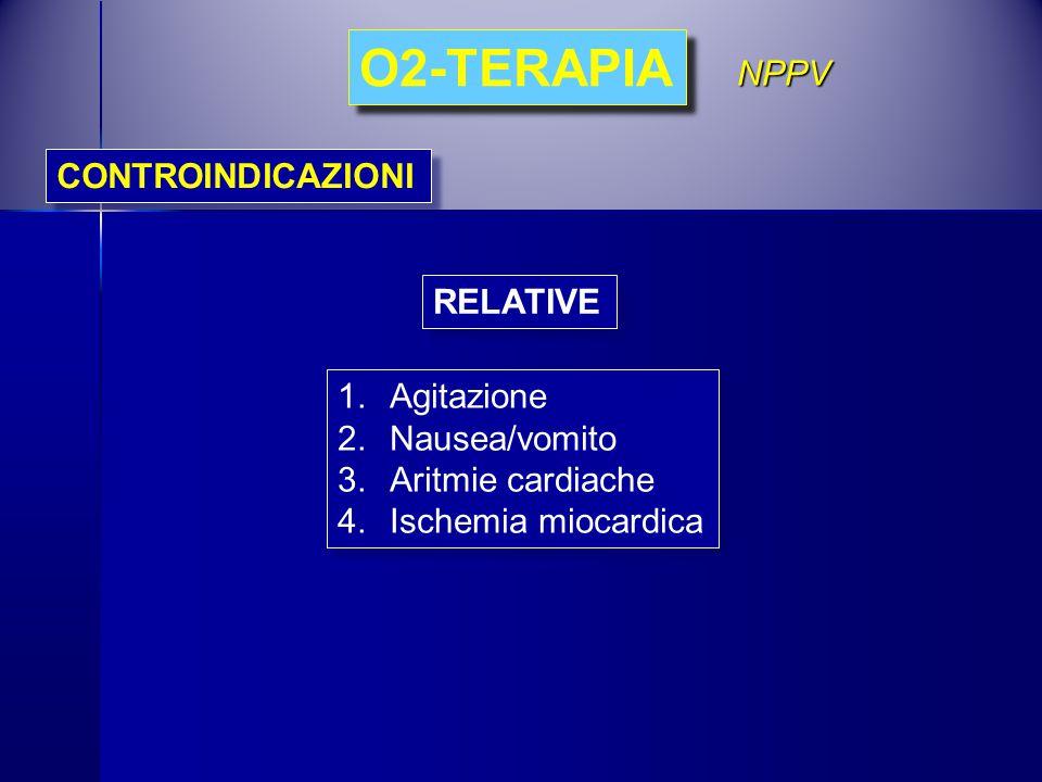 O2-TERAPIA NPPV CONTROINDICAZIONI RELATIVE Agitazione Nausea/vomito