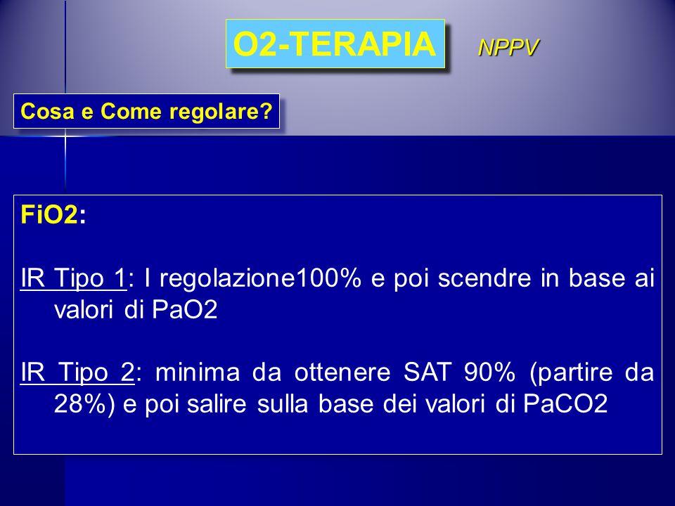 O2-TERAPIA NPPV. Cosa e Come regolare FiO2: IR Tipo 1: I regolazione100% e poi scendre in base ai valori di PaO2.