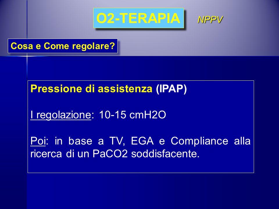 O2-TERAPIA Pressione di assistenza (IPAP) I regolazione: 10-15 cmH2O