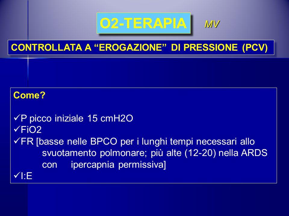 O2-TERAPIA MV CONTROLLATA A EROGAZIONE DI PRESSIONE (PCV) Come