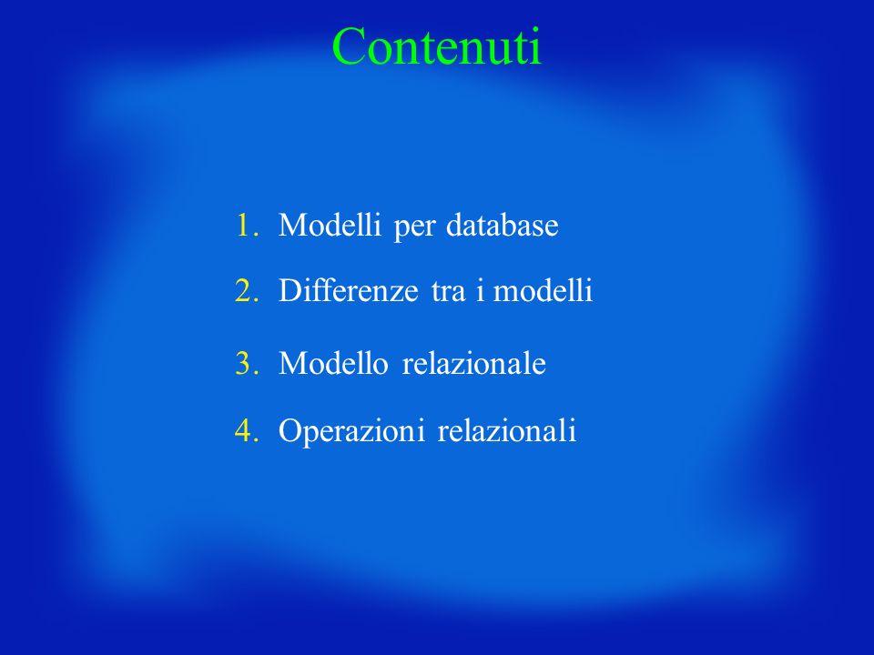 Contenuti 1. Modelli per database 2. Differenze tra i modelli