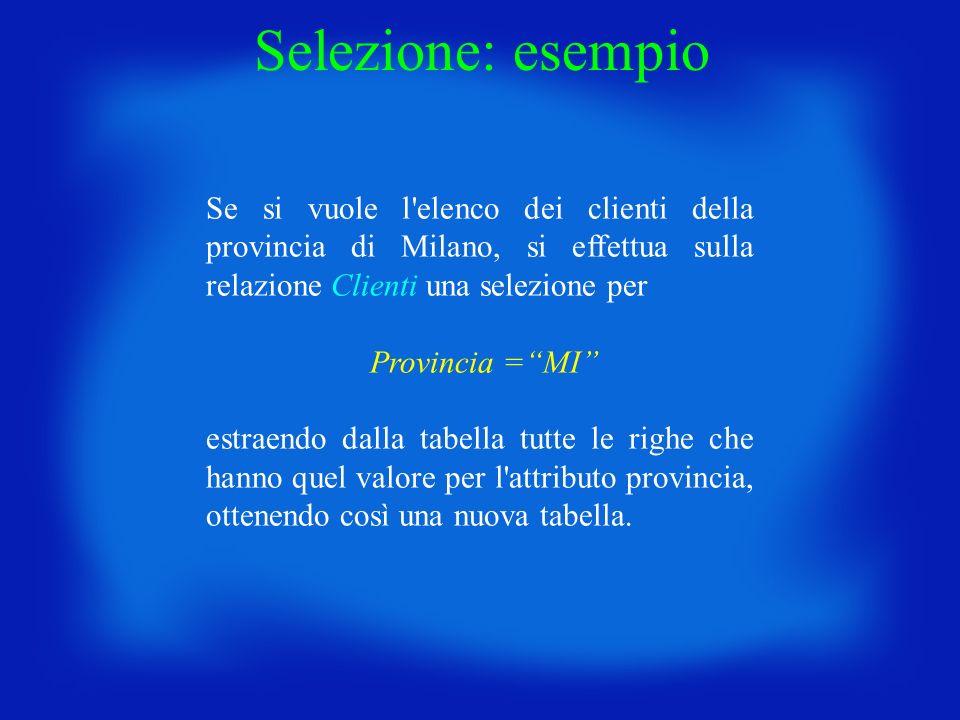 Selezione: esempio Se si vuole l elenco dei clienti della provincia di Milano, si effettua sulla relazione Clienti una selezione per.