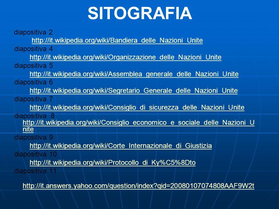 SITOGRAFIA http://it.wikipedia.org/wiki/Bandiera_delle_Nazioni_Unite