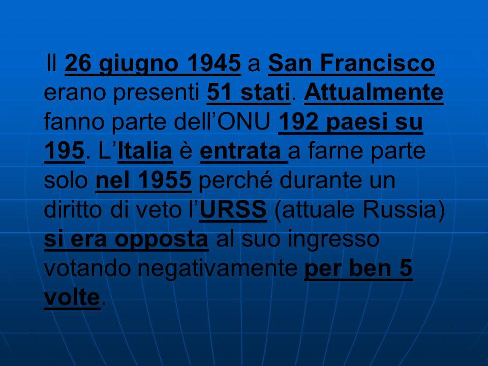 Il 26 giugno 1945 a San Francisco erano presenti 51 stati