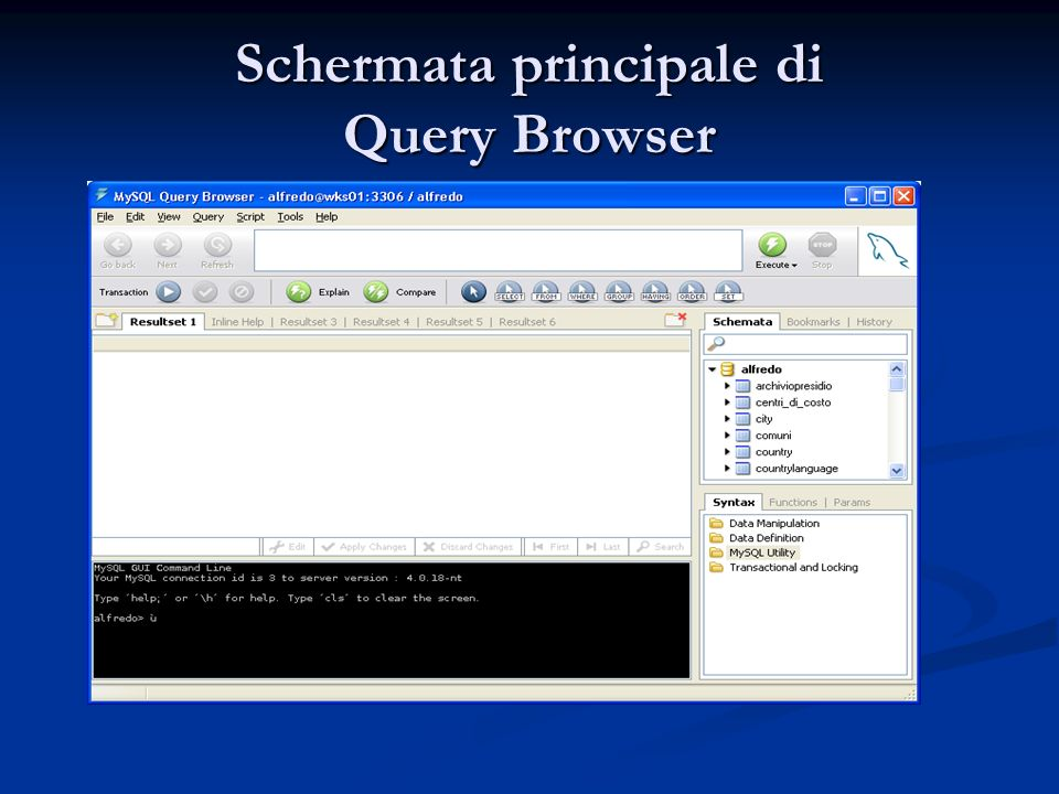 Schermata principale di Query Browser