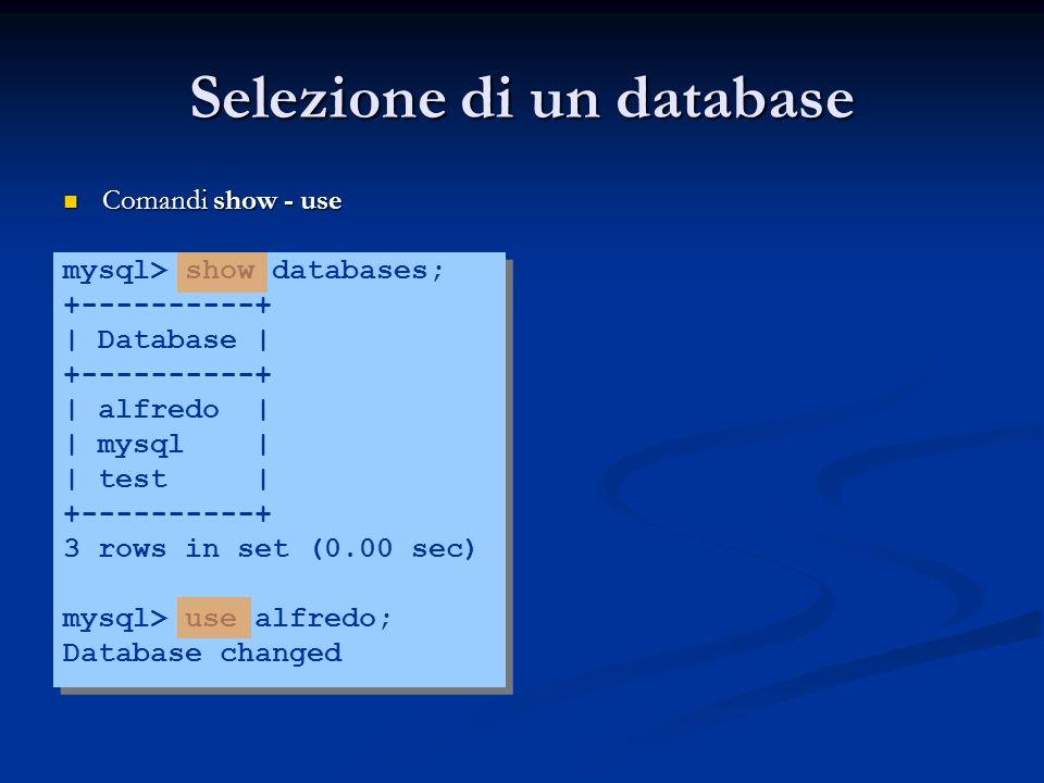 Selezione di un database