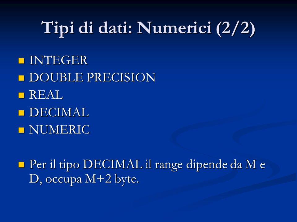 Tipi di dati: Numerici (2/2)