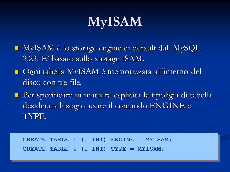 MyISAM MyISAM è lo storage engine di default dal MySQL 3.23. E' basato sullo storage ISAM.