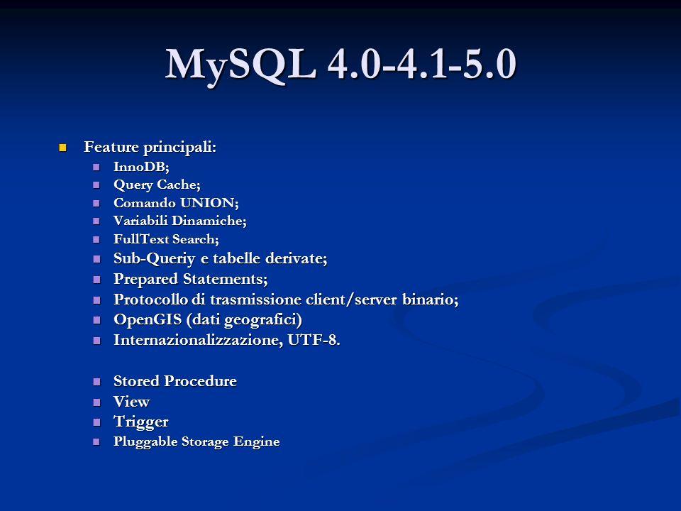 MySQL 4.0-4.1-5.0 Feature principali: Sub-Queriy e tabelle derivate;