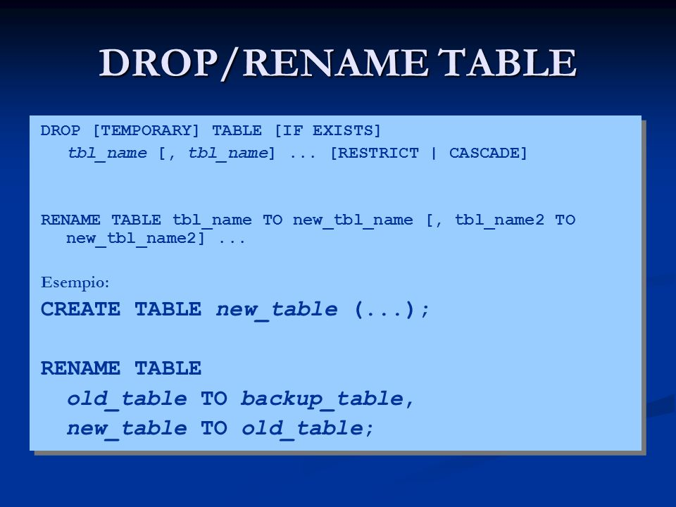 DROP/RENAME TABLE CREATE TABLE new_table (...); RENAME TABLE