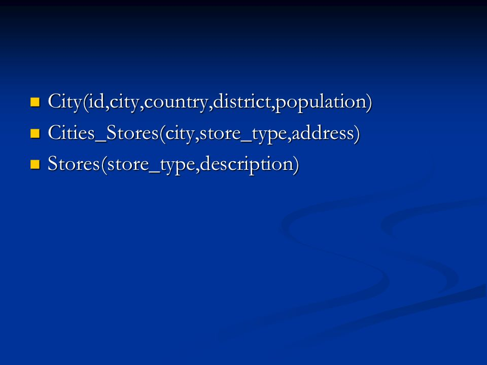 City(id,city,country,district,population)