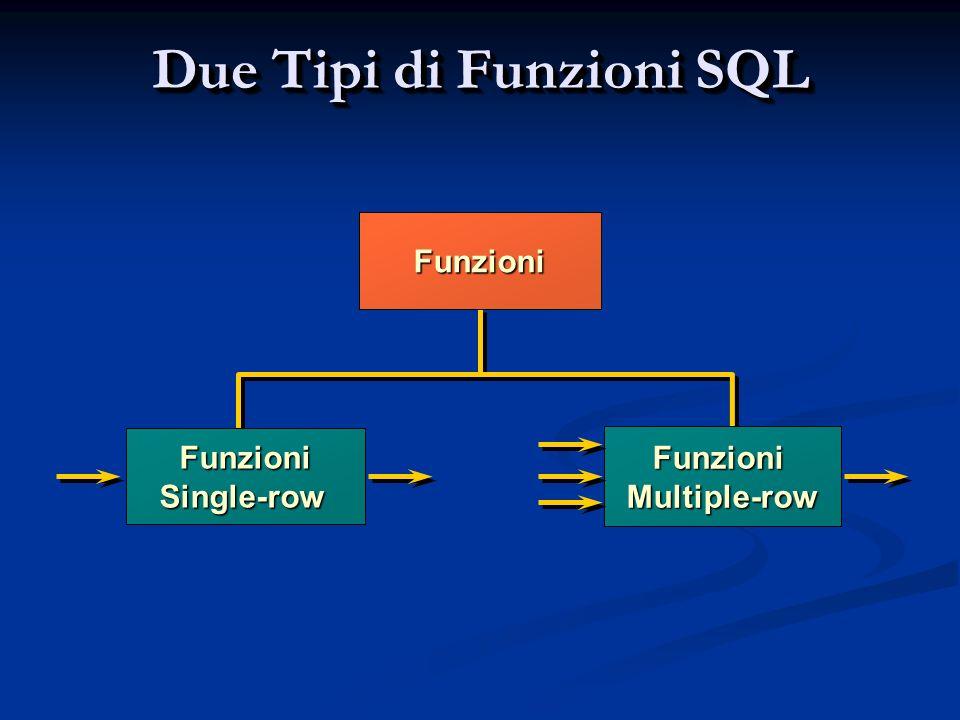 Due Tipi di Funzioni SQL