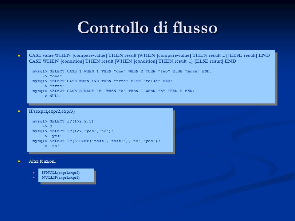 Controllo di flusso CASE value WHEN [compare-value] THEN result [WHEN [compare-value] THEN result ...] [ELSE result] END.