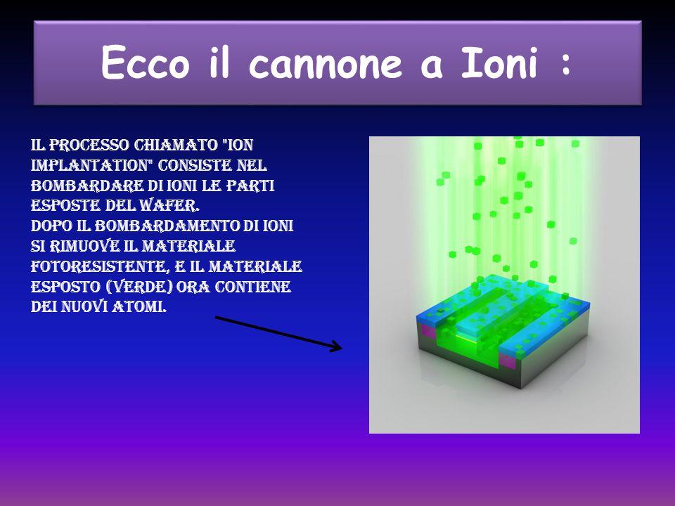 Ecco il cannone a Ioni : Il processo chiamato ion implantation consiste nel bombardare di ioni le parti esposte del wafer.