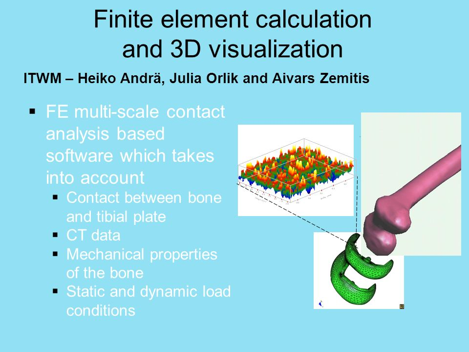 Finite element calculation and 3D visualization