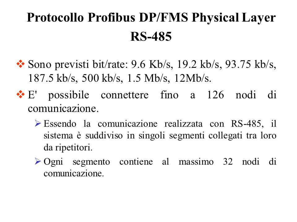 Protocollo Profibus DP/FMS Physical Layer