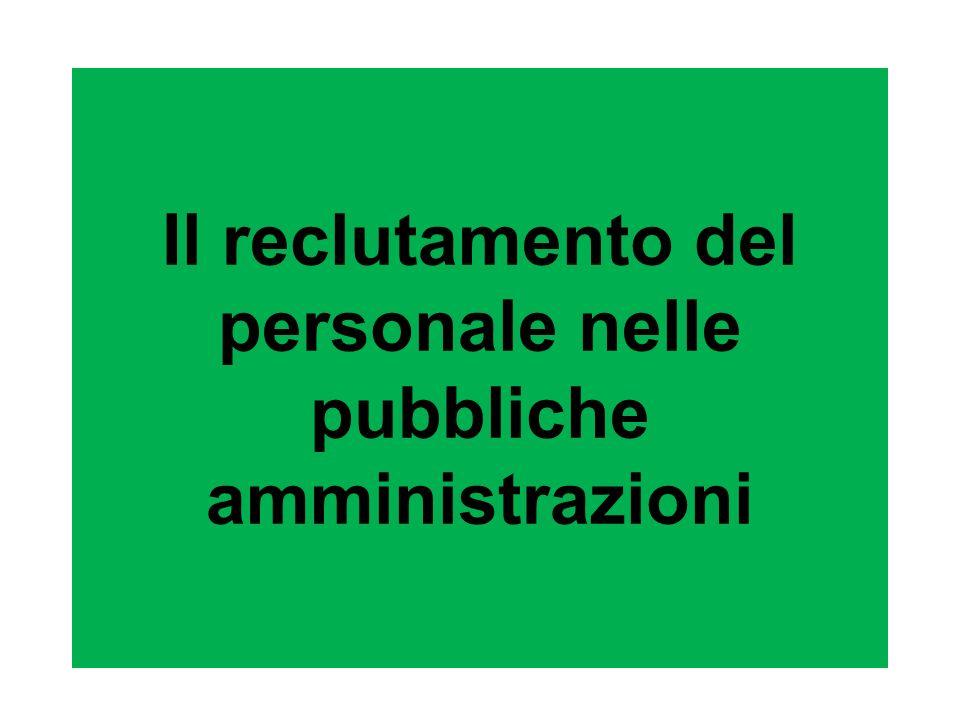 Il reclutamento del personale nelle pubbliche amministrazioni