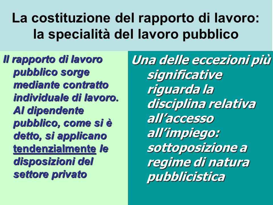 La costituzione del rapporto di lavoro: la specialità del lavoro pubblico