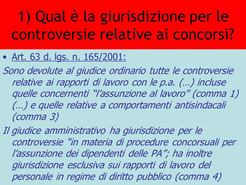 1) Qual è la giurisdizione per le controversie relative ai concorsi