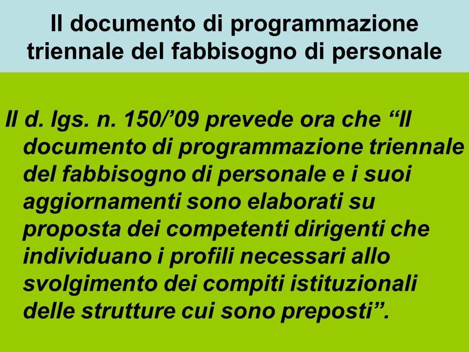 Il documento di programmazione triennale del fabbisogno di personale